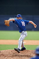 Pitcher Mathieu Gauthier (18) of Lower Canada College in Candiac, Quebec playing for the Texas Rangers scout team during the East Coast Pro Showcase on July 30, 2015 at George M. Steinbrenner Field in Tampa, Florida.  (Mike Janes/Four Seam Images)