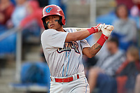 Clearwater Threshers Grenny Cumana (12) on deck during a game against the Dunedin Blue Jays on April 8, 2017 at Florida Auto Exchange Stadium in Dunedin, Florida.  Dunedin defeated Clearwater 12-6.  (Mike Janes/Four Seam Images)