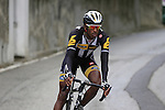 Daniel Teklehaimanot (ERI) MTN-Qhubeka finished for the day on the final climb of Superga near the finish of the 2015 96th Milan-Turin 186km race starting at San Giuliano Milanese, Italy. 1st October 2015.<br /> Picture: Eoin Clarke | Newsfile
