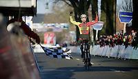 U23 race winner Laurens Sweeck (BEL/Corendon-Kwadro) crossing the finish line<br /> <br /> Azencross Loenhout 2014