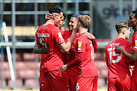 O's Conor Wilkinson scores and celebrates the opening goal during Leyton Orient vs Carlisle United, Sky Bet EFL League 2 Football at The Breyer Group Stadium on 1st May 2021