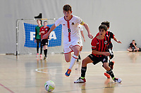 Isaac Bates of Hamilton Boys' High School during the Futsal NZ Secondary Schools Junior Boys Final between Hamilton Boys High School and Selwyn College at ASB Sports Centre, Wellington on 26 March 2021.<br /> Copyright photo: Masanori Udagawa /  www.photosport.nz