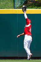Alex Castellanos (18) of the Springfield Cardinals catches a hard hit ball to center field during a game against the San Antonio Missions on May 30, 2011 at Hammons Field in Springfield, Missouri.  Photo By David Welker/Four Seam Images
