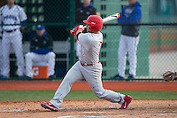 Kevin Tatum (2) of the Cornell Big Red follows through on his swing against the Seton Hall Pirates at The Ripken Experience on February 27, 2015 in Myrtle Beach, South Carolina.  The Pirates defeated the Big Red 3-0.  (Brian Westerholt/Four Seam Images)