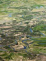 Meandering Rio Grande River south of Alamosa, Colorado. June 2013