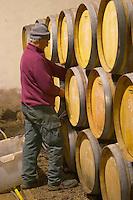 Chateau la Condamine Bertrand. Pezenas region. Languedoc. Barrel cellar. France. Europe.