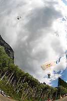 World Base Race, the first event where BASE jumpers compete to be the fastest flying down from a mountain, before deploying their parachute. The contestants jump from a mountain in the fjord Innfjorden in Western Norway, two jumpers race each other to the finish line 750 meters horizontally from the mountain.