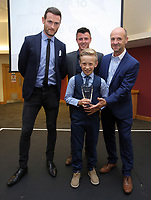Pictured: Under 10 winner Jacob Cook (C) Saturday 27 May 2017<br /> Re: Swansea City FC Academy Awards Evening at the Liberty Stadium, Wales, UK