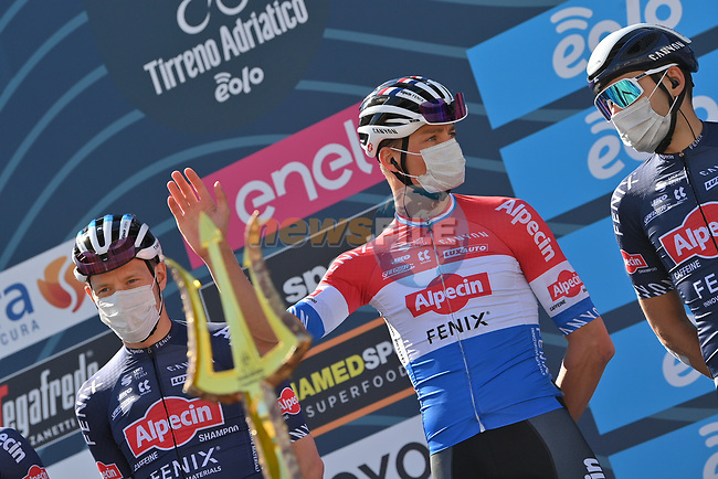 Dutch Champion Mathieu Van Der Poel (NED) and Alpecin Fenix at sign on before the start of Stage 6 of Tirreno-Adriatico Eolo 2021, running 169km from Castelraimondo to Lido di Fermo, Italy. 15th March 2021. <br /> Photo: LaPresse/Gian Mattia D'Alberto | Cyclefile<br /> <br /> All photos usage must carry mandatory copyright credit (© Cyclefile | LaPresse/Gian Mattia D'Alberto)