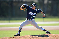 Upper Iowa University Peacocks pitcher Martin Valdez (14) during a game against Slippery Rock University at Frank Tack Field on March 14, 2014 in Clearwater, Florida.  Slippery Rock defeated Upper Iowa 14-9.  (Mike Janes/Four Seam Images)