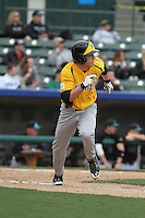 Wichita State Shockers infielder Tanner Dearman #1 at bat during a game against the Coastal Carolina Chanticleers at Ticketreturn.com Field at Pelicans Ballpark on February 23, 2014 in Myrtle Beach, South Carolina. Wichita State defeated Coastal Carolina by the score of 5-2. (Robert Gurganus/Four Seam Images)