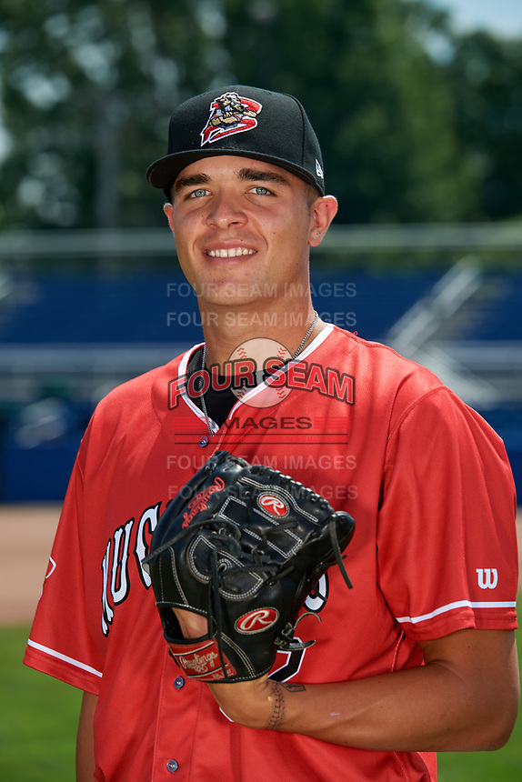 Batavia Muckdogs pitcher Chris Vallimont (32) poses for a photo on July 2, 2018 at Dwyer Stadium in Batavia, New York.  (Mike Janes/Four Seam Images)
