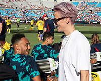 CHARLOTTE, NC - JULY 20: Megan Rapinoe speaks to an Arsenal player prior to the match during a game between ACF Fiorentina and Arsenal at Bank of America Stadium on July 20, 2019 in Charlotte, North Carolina.