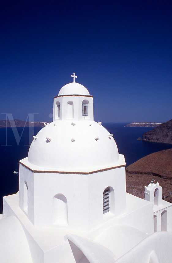 Saint Minas Church in Fira Town.Santorini.Greece..Cyclades Island....