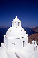 Saint Minas Church in Fira Town.Santorini.Greece..Cyclades Island....