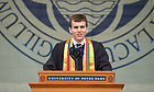 May 20, 2018; 2018 Andrew Grose, valedictorian of the 2018 graduating class, delivers the valedictory address during the Commencement ceremony.  (Photo by Barbara Johnston/University of Notre Dame)