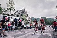 2 Luxemburg Jempy Drucker (LUX/BMC) & Laurent Didier (LUX/Trek-Segafredo) up the final climb to Pratonevoso<br /> <br /> stage 18: Abbiategrasso - Pratonevoso (196km)<br /> 101th Giro d'Italia 2018