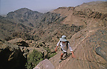 """. Climbing path above the rift on the trek from """"Little Petra"""" to El Deir temple. Middle East. Jordan. Petra"""