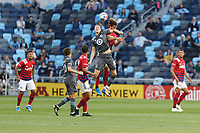 SAINT PAUL, MN - MAY 15: Jan Gregus #8 of Minnesota United FC heads the ball during a game between FC Dallas and Minnesota United FC at Allianz Field on May 15, 2021 in Saint Paul, Minnesota.