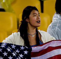 USA Fan. The USWNT defeated Brazil, 1-0, to win the gold medal during the 2008 Beijing Olympics at Workers' Stadium in Beijing, China.