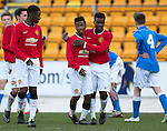 St Johnstone Academy v Manchester United Academy....17.04.15   <br /> Angel Gomes celebrates his goal<br /> Picture by Graeme Hart.<br /> Copyright Perthshire Picture Agency<br /> Tel: 01738 623350  Mobile: 07990 594431