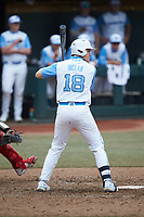 Clemente Inclan (18) of the North Carolina Tar Heels at bat against the North Carolina State Wolfpack at Boshamer Stadium on March 27, 2021 in Chapel Hill, North Carolina. (Brian Westerholt/Four Seam Images)