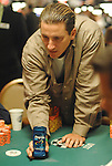 """Pete de Best thinks about making a call, does, then displays a cannister of Degree Deoderant.  On ESPN telecasts of the WSOP, there is a segment called the """"Degree All in Moment.""""  For laughs sake, he was recreating that."""
