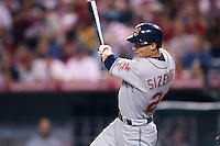 Grady Sizemore of the Cleveland Indians during a game from the 2007 season at Angel Stadium in Anaheim, California. (Larry Goren/Four Seam Images)