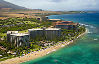 Aerial view of Kaanapali beach and hotels