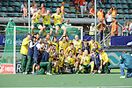 The Hague, Netherlands, June 15: The players of the Kookaburras group for a team picture after the prize giving ceremony on June 15, 2014 during the World Cup 2014 at Kyocera Stadium in The Hague, Netherlands. (Photo by Dirk Markgraf / www.265-images.com) *** Local caption ***