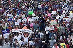 December 9, 2007. Columbia, SC.. Democratic presidential hopeful and US Senator, Barack Obama held a rally at the University of South Carolina's football stadium, drawing a crowd of an estimated 29,000 people, with special guest Oprah Winfrey.. The crowd brought many banners for the candidate..