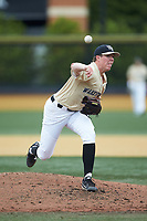 Wake Forest Demon Deacons relief pitcher Chris Farish (32) delivers a pitch to the plate against the Virginia Cavaliers at David F. Couch Ballpark on May 19, 2018 in  Winston-Salem, North Carolina. The Demon Deacons defeated the Cavaliers 18-12. (Brian Westerholt/Four Seam Images)