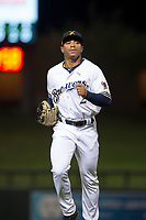 Salt River Rafters center fielder Corey Ray (2), of the Milwaukee Brewers organization, jogs off the field between innings of a game against the Mesa Solar Sox on October 17, 2017 at Salt River Fields at Talking Stick in Scottsdale, Arizona. The Solar Sox defeated the Rafters 8-5. (Zachary Lucy/Four Seam Images)