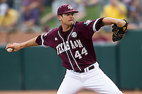 Texas A&M Aggies pitcher Jason Freeman (44) delivers a pitch to the plate against the LSU Tigers in the NCAA Southeastern Conference baseball game on May 10, 2013 at Blue Bell Park in College Station, Texas. LSU defeated Texas A&M 7-4. (Andrew Woolley/Four Seam Images).