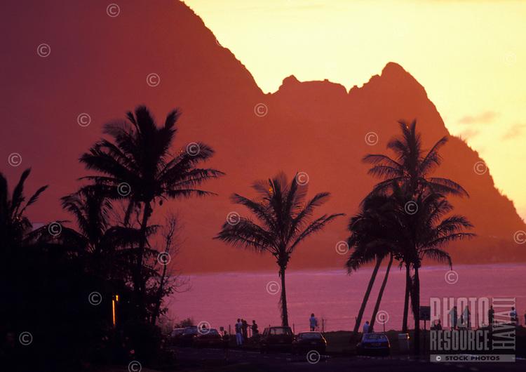 Sunset at Makana point, know to many as Bali hai, north shore, island of Kauai, as viewed from Princeville Resort.