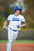 South Dakota State Jackrabbits right fielder Colton Cox (12) rounds the bases on a Landon Badger (not shown) home run during a game against the Northeastern Huskies on February 23, 2019 at North Charlotte Regional Park in Port Charlotte, Florida.  Northeastern defeated South Dakota State 12-9.  (Mike Janes/Four Seam Images)