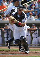 August 24, 2003:  Clayton McCullough of the Lake County Captains, Class-A affiliate of the Cleveland Indians, during a South Atlantic League game at Classic Park in Eastlake, OH.  Photo by:  Mike Janes/Four Seam Images