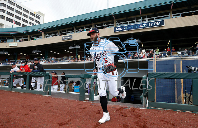 Reno Aces' Christian Walker takes the field in a game against the Tacoma Rainiers, in Reno, Nev., on Friday, May 28, 2021. <br /> Photo by Cathleen Allison