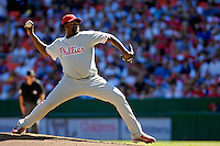 23 September 2007: Philadelphia Phillies pitcher Antonio Alfonseca in action against the Washington Nationals at Robert F. Kennedy Memorial Stadium in Washington, DC. The Nationals defeated the visiting Phillies 5-3 to close out the 2007 home season and the final game in baseball history at RFK Stadium. The Nationals will open up the 2008 season at Nationals Park, their new facility currently under construction.. .Mandatory Photo Credit: Ed Wolfstein Photo