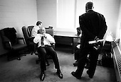 Rock Hill, South Carolina.USA.January 29, 2004..General Wesley Clark in aholding room with his staff moments after his speach to UNITE Union Hall.