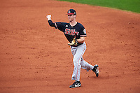 Ball State Cardinals second baseman Seth Freed (1) throws to first base during a game against the Alabama State Hornets on February 18, 2017 at Spectrum Field in Clearwater, Florida.  Ball State defeated Alabama State 3-2.  (Mike Janes/Four Seam Images)