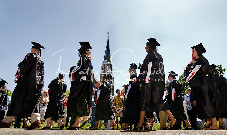 Graduates line up Belmont Abbey College Graduation in Belmont Abbey.