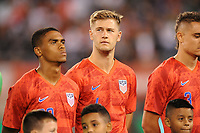 EAST RUTHERFORD, NJ - SEPTEMBER 7: Reggie Cannon #20 of the United States, Walker Zimmerman #4 of the United States during the presentation of the team during a game between Mexico and USMNT at MetLife Stadium on September 6, 2019 in East Rutherford, New Jersey.