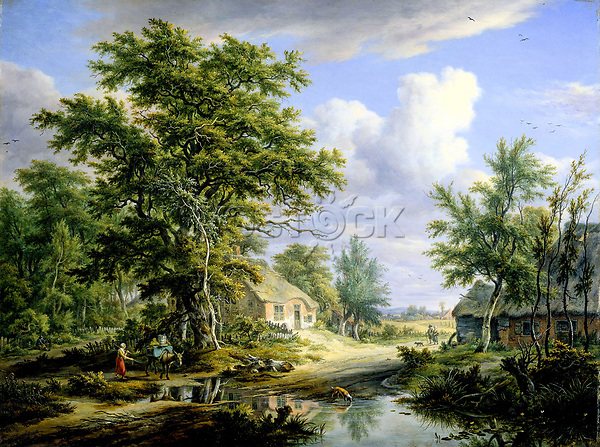 Farmshouses on the edge of a forest - by Egbert van Drielst, 1812