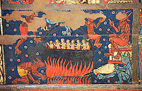 Gothic altar panel depicting scenes of hell with the damned in a colder being heated by the devil. End of the 13th century, tempera on a spruce wooden panel  from  The Church of Sant Miguel de Soriguerola, Cerdanya, Huesca, Spain. Inv MNAC 43901. National Museum of Catalan Art (MNAC), Barcelona, Spain
