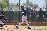 Los Angeles Dodgers infielder Marcus Chiu (22) follows through on his swing during an Instructional League game against the Milwaukee Brewers at Maryvale Baseball Park on September 24, 2018 in Phoenix, Arizona. (Zachary Lucy/Four Seam Images)