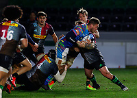 13th February 2021; Twickenham Stoop, London, England; English Premiership Rugby, Harlequins versus Leicester Tigers; Symons of Harlequins and Marler of Harlequins both trying to stop a forward attack