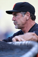 San Francisco Giants Manager Bruce Bochy #15 before a game against the Los Angeles Dodgers at Dodger Stadium on August 21, 2012 in Los Angeles, California. San Francisco defeated Los Angeles 4-1. (Larry Goren/Four Seam Images)
