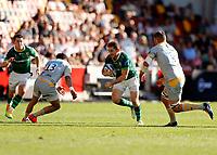 5th June 2021; Brentford Community Stadium, London, England; Gallagher Premiership Rugby, London Irish versus Wasps; Paddy Jackson of London Irish covered by Juan de Jongh of Wasps