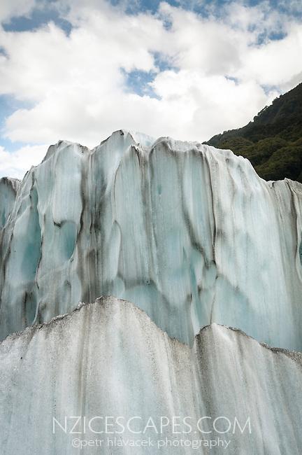 Close up of glacial ice textures on Franz Josef Glacier, Westland NP, West Coast, New Zealand